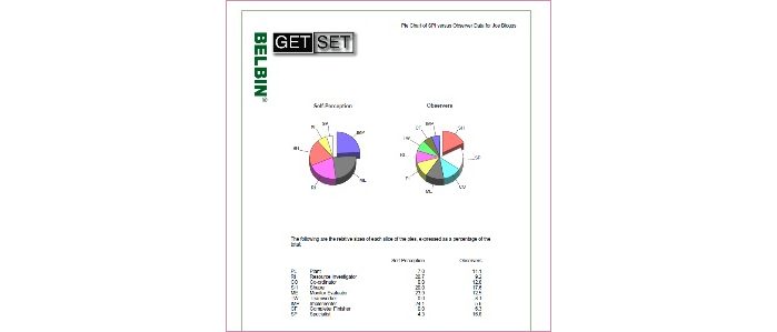 2 Pie Charts Of Selfperception And Observers Padded Belbin